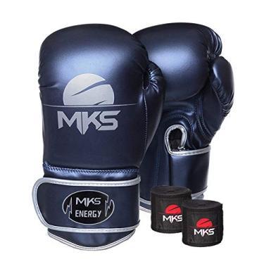 Kit Luva de Boxe MKS Energy V2 Metalic Blue e Bandagem Preta 2,55m (18 oz)