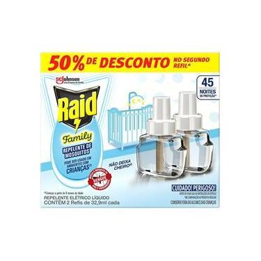 Imagem de Refil Raid Family 45 Noites Repelente Líquido com 2 Unidades de 32,9 ml cada