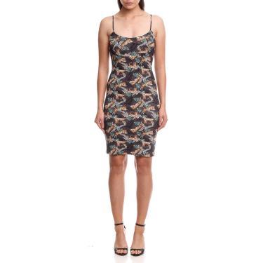 Vestido com Decote Quadrado e Estampa Exclusiva, Colcci, Feminino, Cinza/Preto/Verde, G