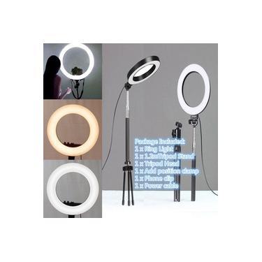 Fotografia LED Selfie Ring Light 10 polegadas Câmera Regulável de Metal Câmera Anel Lâmpada Com Suporte Tripés Para Maquiagem Vídeo Live Studio