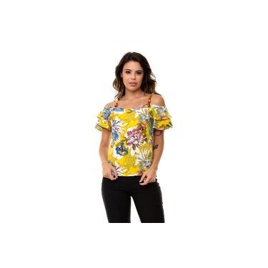 Blusa Kinara Crepe Ombro Vazado Amarelo