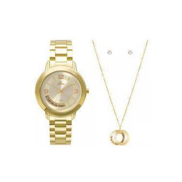 c1e8b51a2d1 Kit Relógio Feminino Allora Serena Al2315ai k4x Dourado