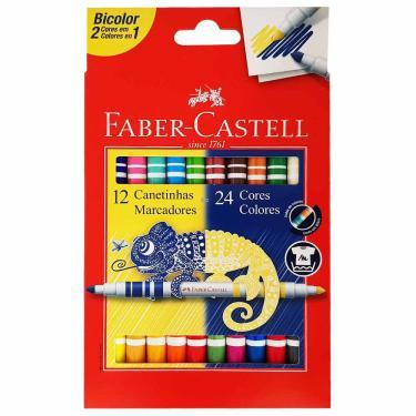 Canetinha Hidrográfica 24 Cores Bicolor Faber Castell 1029327