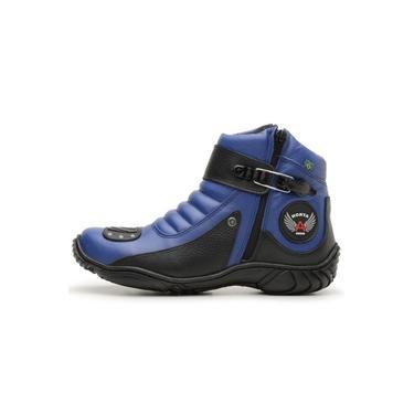 Bota Coturno Motociclista Unisex Atron Shoes Azul Preto Tamanhos Especiais 33 A 46