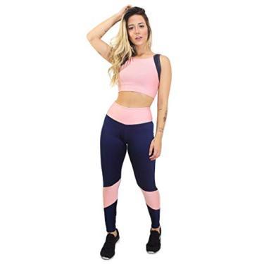 Conjunto Calça Legging e Cropped Hot&Serious, cores variadas (GG, Rosê com Branco)