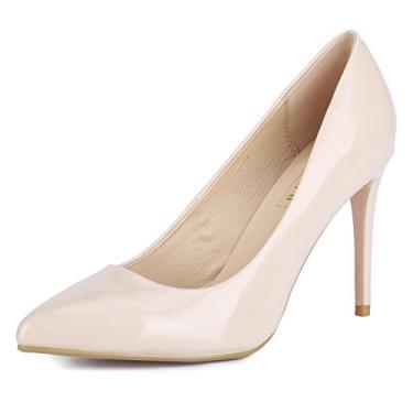 IDIFU sapato feminino IN4 clássico bico fino salto alto escarpim vestido de noiva escritório, Nude Patent, 10