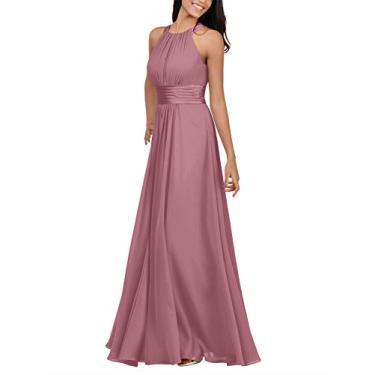 Alicepub Vestido de madrinha de chiffon frente única longo formal vestido de festa para mulheres ocasiões especiais, Desert Rose, 10