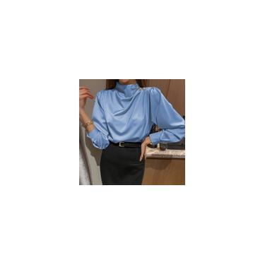 Mulheres elegantes mangas compridas cor sólida tops gola redonda ol Chiffon blusa camisas blusas plus size Azul 5XL