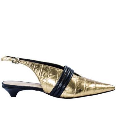 Sapato Feminio Slingback Abelle Shoes Sem Salto Em Couro Croco Ouro Livia Tamanho:36;Cor:Dourado