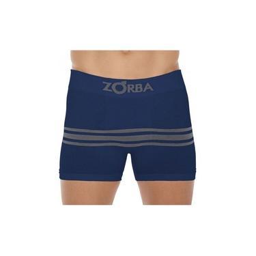 Cueca Boxer Zorba Seamless Listras II S/ Cost Algodão Azul