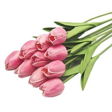 ZHONGLI Flores artificiais de tulipas frescas – Sinta-se como toque de decoração floral real para buquê de casamento, festa de jardim