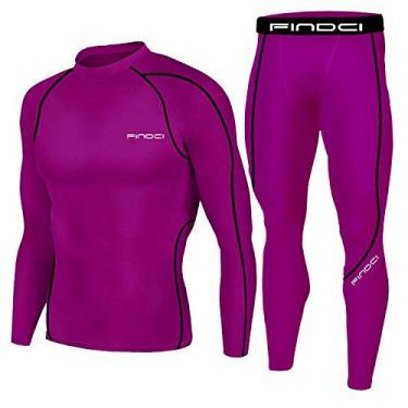 Imagem de Camisetas masculinas de compressão justas, calças de treino, camisas de manga comprida, calças longas, trajes casuais, Vermelho claro, XG