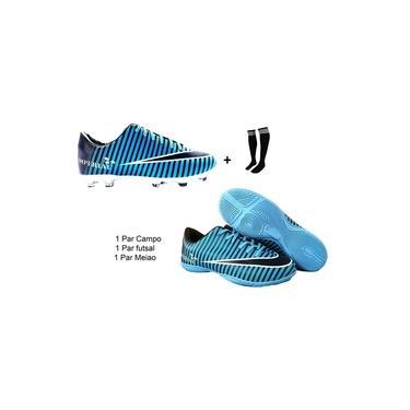 Imagem de kit 2 Pares Chuteira Campo salão futsal quadra Vestope Imperial Azul