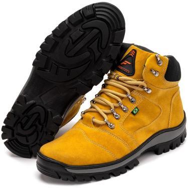 Bota Coturno Adventure Masculina Cano Médio Confortável Amarelo 35