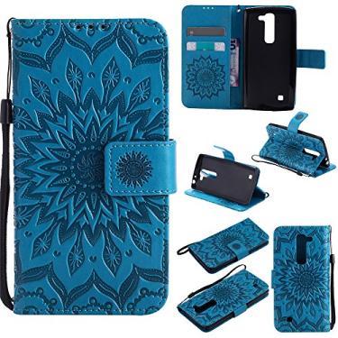Capa carteira XYX para LG Volt 2, [Sun Flower] Couro PU premium fecho magnético TPU bumper capa slim fit para LG Volt 2/LG Magna/LG G4 Mini/LG G4C, azul