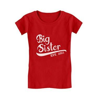 Camiseta infantil Big Sister Est 2021 presente Big Sister para meninas, 2021/Vermelho, 5-6 anos