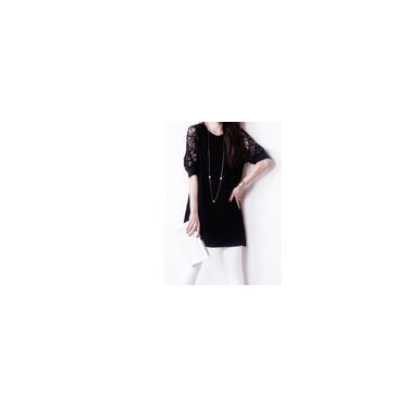 Mulheres Lace verão costura Vestido O Neck-A-Line Vestido com laço luva Médio-Bestow
