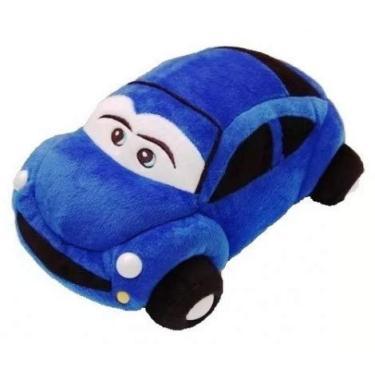 Imagem de Almofada Carro de Pelúcia Azul 33 cm Antialérgico