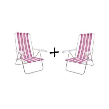 Kit com 2 cadeiras de praia 4 Posições Alumínio CAD0641 Botafogo