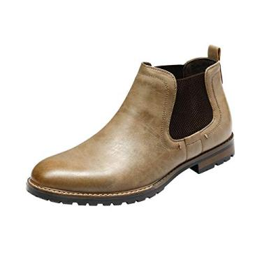 Bruno Marc Chelsea bota masculina casual no tornozelo, 2-khaki, 12