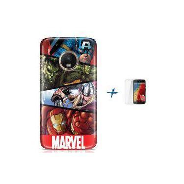 Kit Capa TPU Moto G5 Plus Avengers Vingadores + Pel Vidro (BD30)