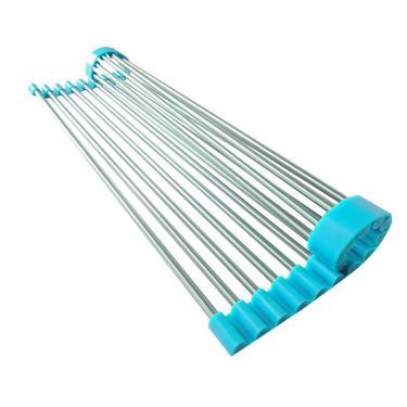 Imagem de Escorredor Multiuso Flexível Em Inox E Silicone Azul 43 X 28 Cm