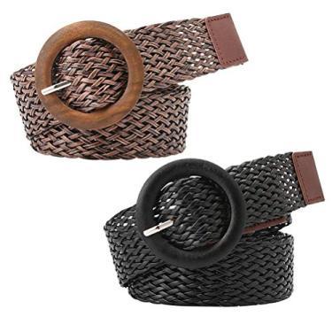 Cinto feminino KesYOO 2 peças estilo étnico fivela redonda cinto de cintura para mulheres jeans (preto, cáqui), Preto + café., 106*3.5*1.5cm
