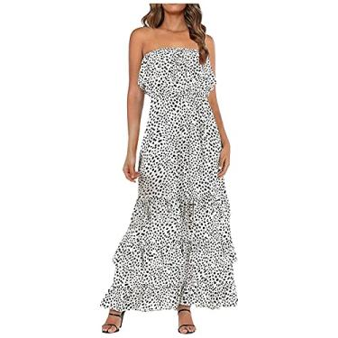 Imagem de Vestido longo floral boêmio sem alças com babados na bainha tomara que caia – 22 estilos, #019:branco, XXG