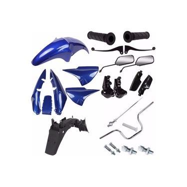Kit Carenagem + Kit Guidao Cg 150 Titan Ks Es 2004 Azul