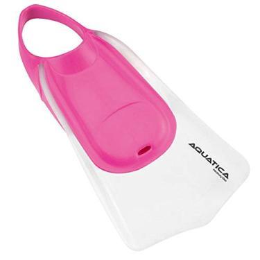 Aquática Seasub - Nadadeira Natação Cor:Transparente - Rosa;Tamanho:S