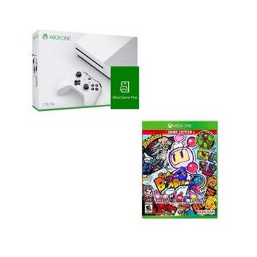 Kit Console Microsoft Xbox One S 1TB + Game Pass + Super Bomberman R