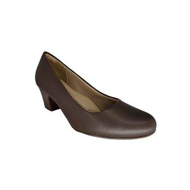Sapato Feminino Social Salto Baixo Marrom Piccadilly 110072