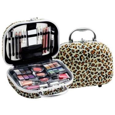 Imagem de Maleta de maquiagem Fenzza Onça com 46 itens hzp740