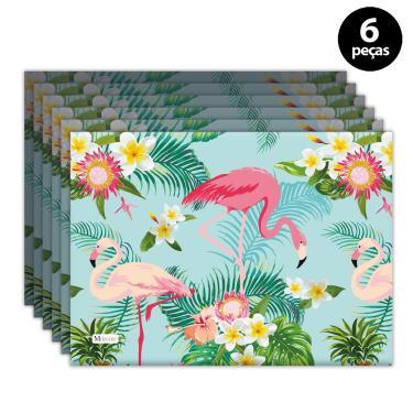 Imagem de Jogo Americano Mdecore Flamingo 40x28 cm Verde 6pçs