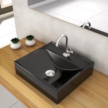 Cuba Pia para Banheiro Quadrada Preta de Marmore Sintético