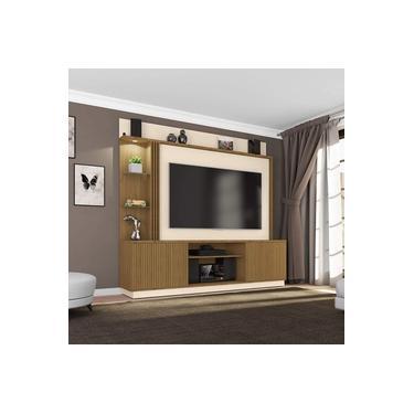 Estante Home para TVs até 65 Polegadas 2 Portas LED Embutido Atlanta Móveis Bechara Cinamomo/Off