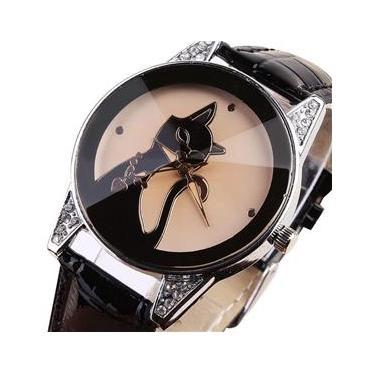 74814ea6792 Relógio Feminino Pulso Enmex Cristal Gato Analógico - Preto