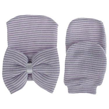 SOIMISS Boné de bebê com luva de malha Chapéu grande bowknot decorativo Boné de roupa de bebê macia para menina (branco roxo)