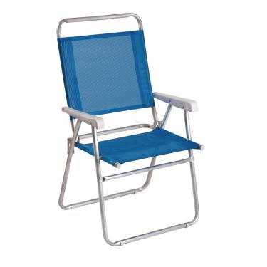 Cadeira De Praia Dobrável Em Alumínio 1 Nível Mor Master Plus Azul 2112