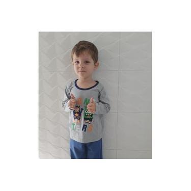 Pijama Infantil Masculino menino Inverno 100% Algodão Monster