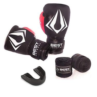 Kit Boxe Muay Thai Luva 16oz + Protetor Bucal + Bandagem 3m - Preto