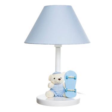 Abajur Madeira Urso Skate Azul Quarto Bebê Infantil Menino