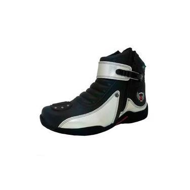 Imagem de Coturno Motociclista em Couro Ziper Atron Shoes Prata
