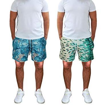 KIT 2 Shorts Masculino Praia Tactel Estampado Bolsos laterais Cós de Elástico KIT-2UNI-397.2 COR:VERDE;Tamanho:P