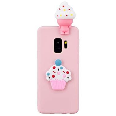 Shunda Capa para Galaxy S9 Plus, capa com estampa de desenho animado 3D, capa fina e macia de silicone de TPU com para-choque, capa traseira protetora para celular para Samsung Galaxy S9 Plus - Sorvete