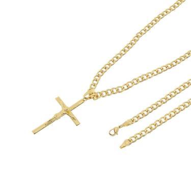 Pingente Cruz Com Corrente Grumet Tudo Jóias Folheado a Ouro 18k Dourada  unissex d344d9c246