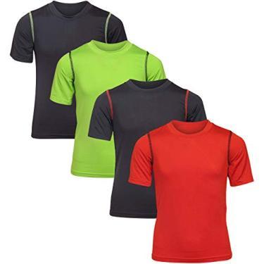 Imagem de Camisetas para meninos Black Bear Performance Dry-Fit (pacote com 4), Black/Red/Black/Green, Small / 4-6