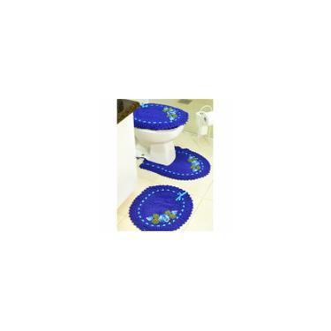 Imagem de Jogo de Tapetes de Crochê para Banheiro Bordado Colorido 3 Peças Azul Royal