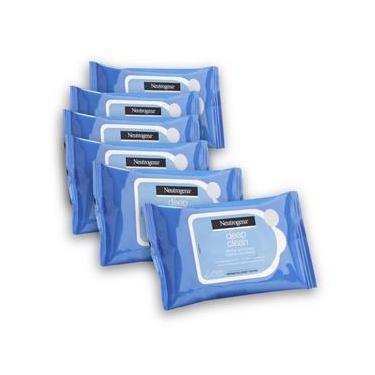 Kit com 6 Lenços Demaquilante NEUTROGENA DEEP CLEAN 7 unidades