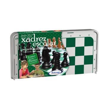 Jogo de Xadrez Escolar Xalingo com Estojo e Peças em Plástico